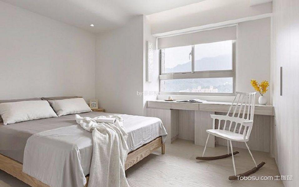 卧室白色窗帘日式风格效果图