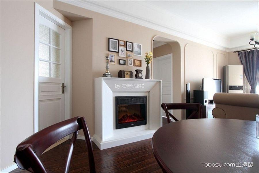 餐厅咖啡色地板砖美式风格装潢图片