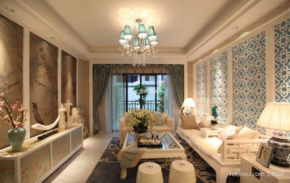 华润国际120平新古典风格三居室装修效果图