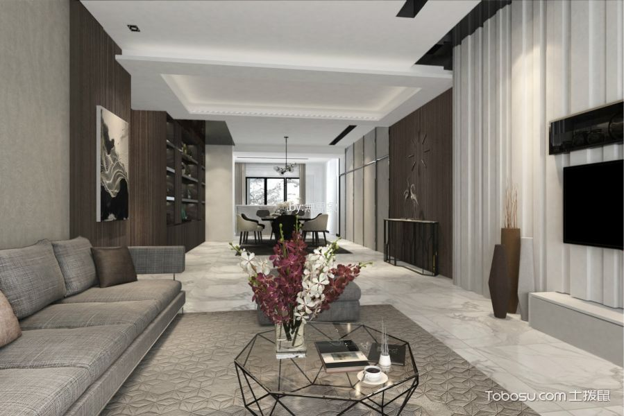 广州雅居乐剑桥郡300平米现代风格效果图