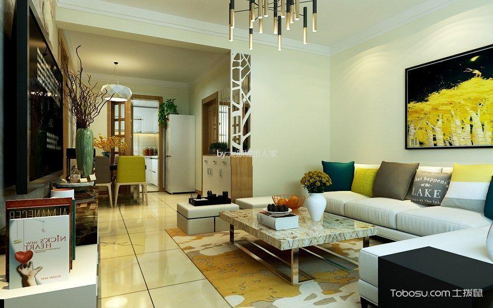 现代简约风格105平米三室两厅新房装修效果图