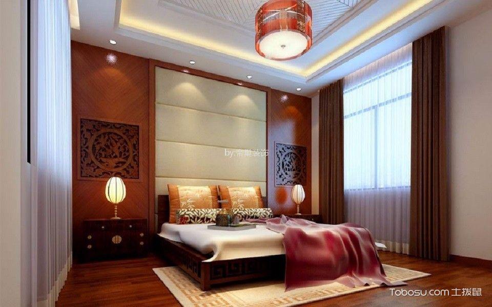 卧室咖啡色窗帘现代中式风格装修效果图