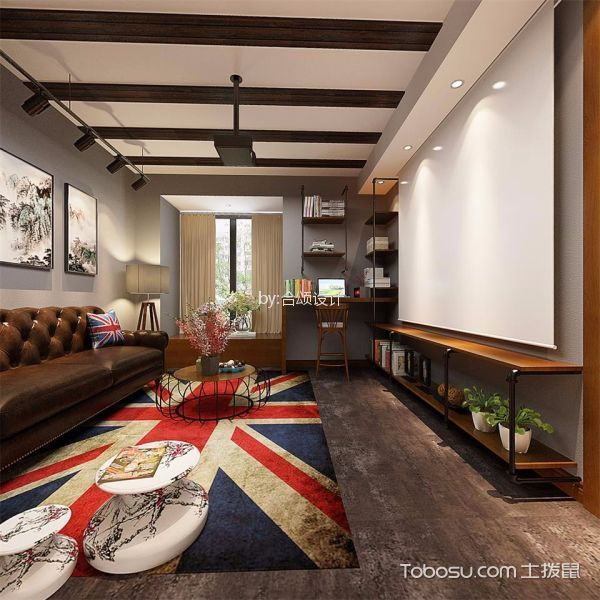 客厅咖啡色沙发混搭风格装饰效果图