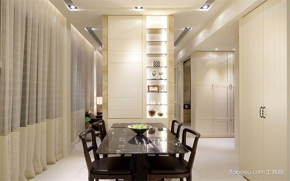 餐厅 窗帘_现代风格70平米一居室新房装修效果图