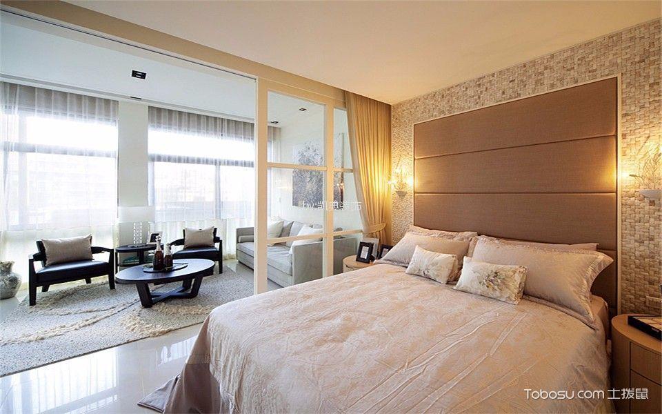 卧室 窗帘_现代风格70平米一居室新房装修效果图