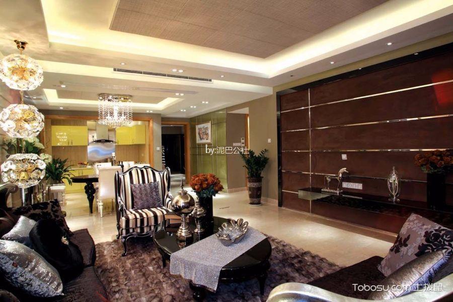 客厅黑色茶几新古典风格装潢效果图