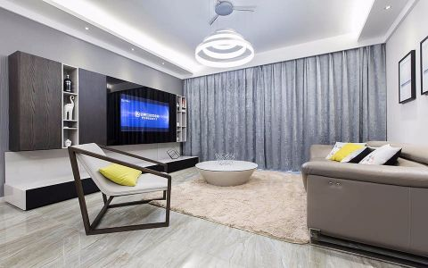 客厅背景墙现代简约风格装潢效果图