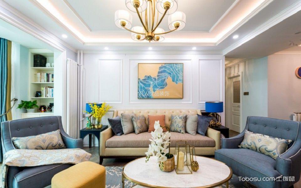 华鼎星城110平美式风格三居室装修效果图