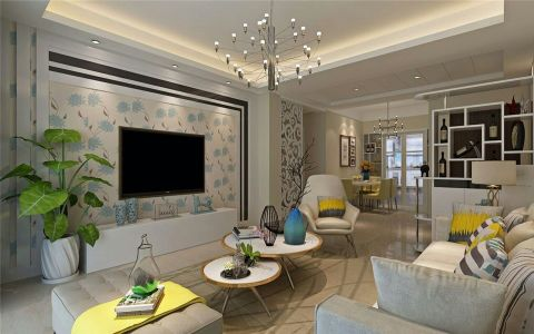 现代风格87平米两室两厅新房装修效果图