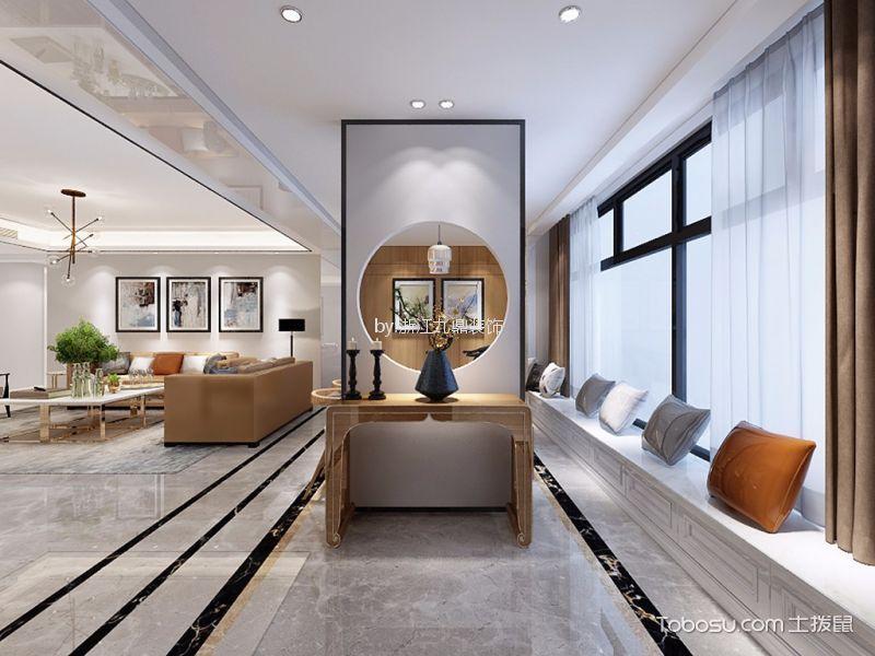 阳台咖啡色窗帘现代风格装饰图片