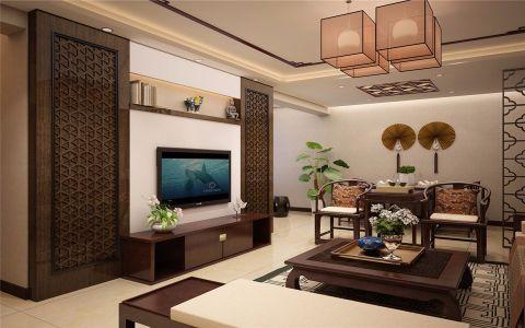 新中式风格99平米三室两厅新房装修效果图