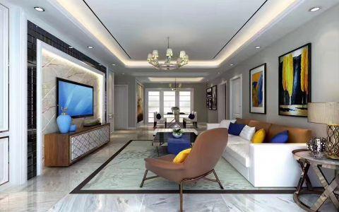 客厅沙发后现代风格装饰图片