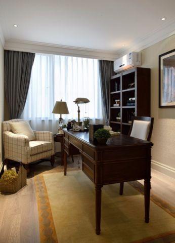 书房窗帘美式风格装潢设计图片