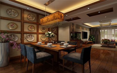餐厅背景墙古典风格装潢图片
