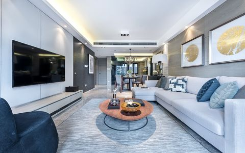现代简约风格85平米两室两厅新房装修效果图