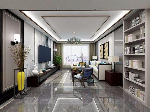 新中式风格104平米套房新房装修效果图