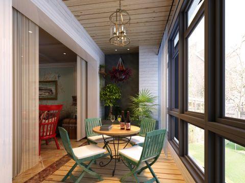 迷人阳台木格栅吊顶装修设计图片