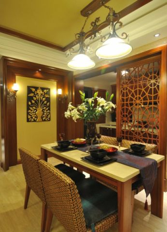 餐厅吊顶东南亚风格效果图