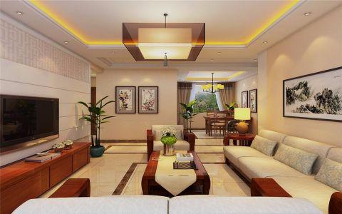 新中式风格121平米楼房室内装修效果图