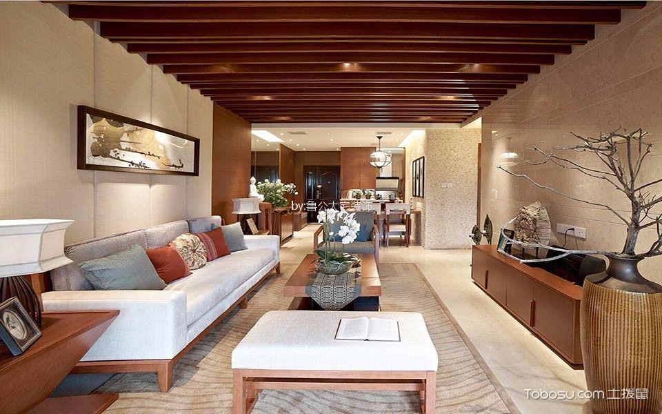 客厅 吊顶_金科城132平新中式三居室装修效果图