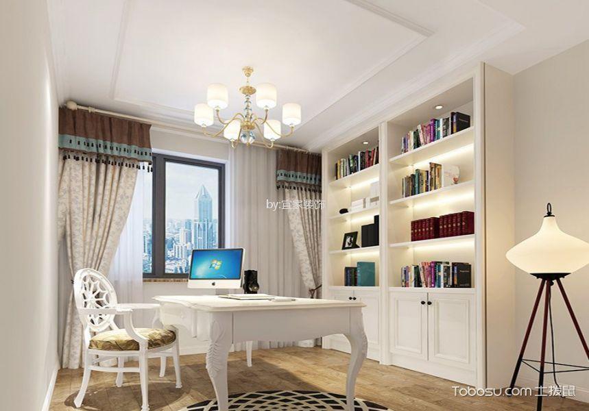 书房白色书桌现代欧式风格装潢图片