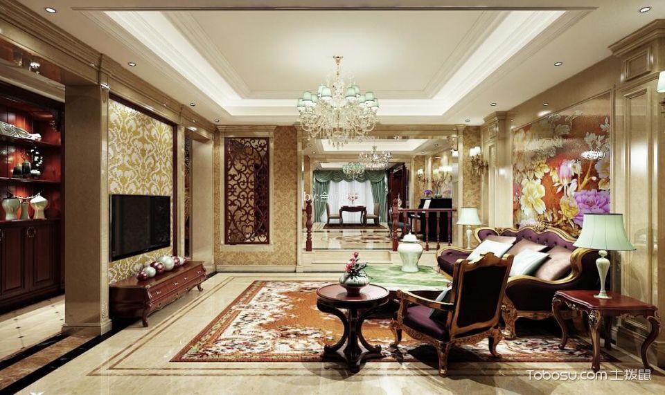客厅红色电视柜欧式风格装修设计图片