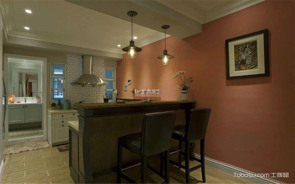 厨房咖啡色厨房岛台美式风格装修设计图片