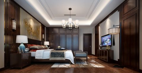 卧室背景墙新中式风格装饰设计图片