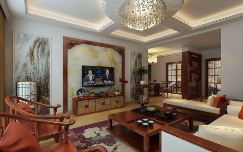 天珑广场新中式三居室装修效果图