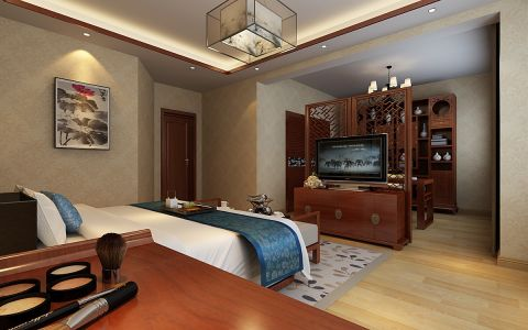 卧室隔断新中式风格装修设计图片