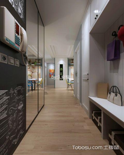 玄关咖啡色地板砖北欧风格装修效果图