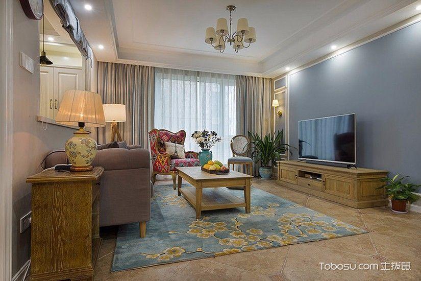 绿都御景蓝湾100平美式风格三居室装修效果图