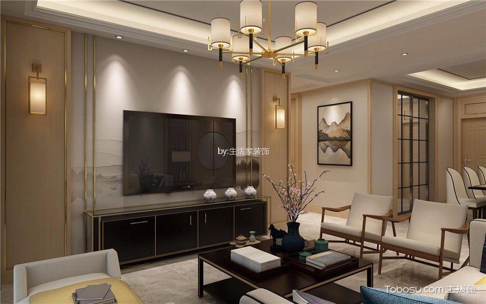 碧桂园银河城120平新中式风格三居室装修效果图