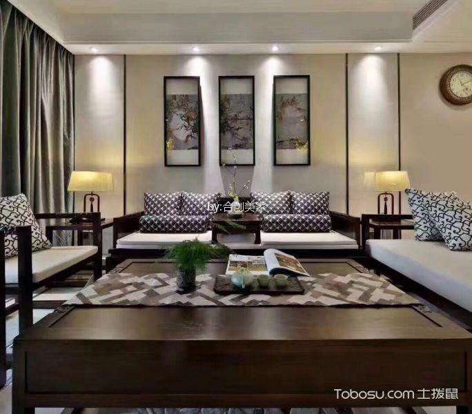新中式风格100平米两室两厅新房装修效果图