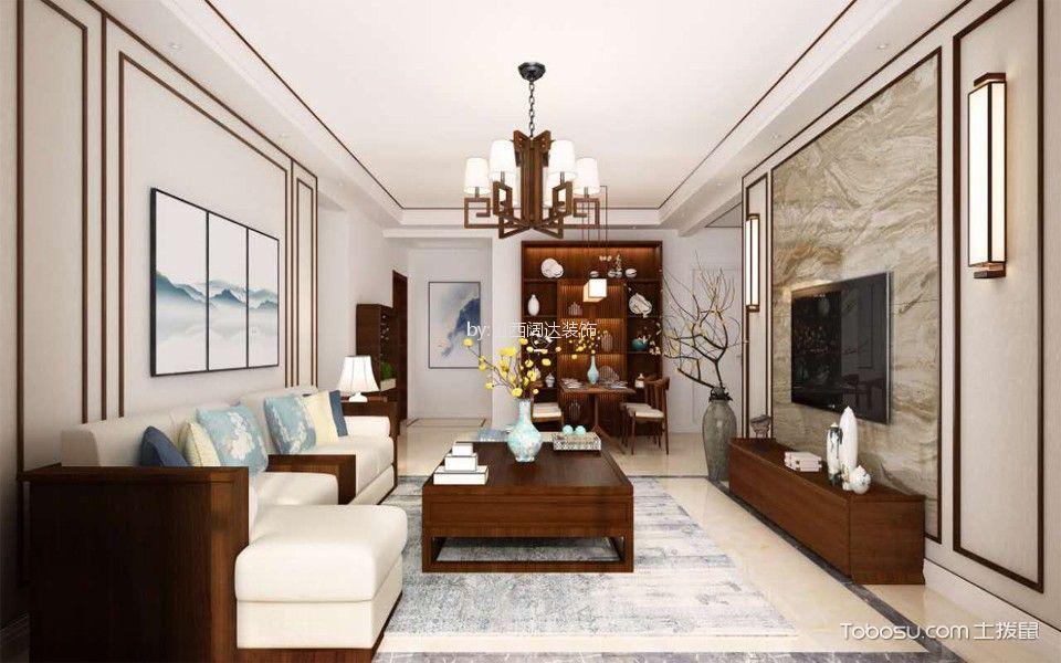 阳光雅筑130平中式风格三居室装修效果图