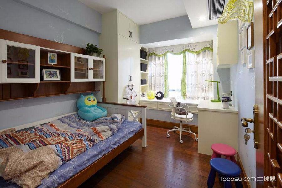 儿童房蓝色榻榻米中式风格装修设计图片