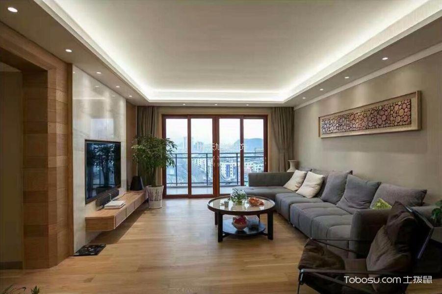 130平米现代简约风格二居室效果图