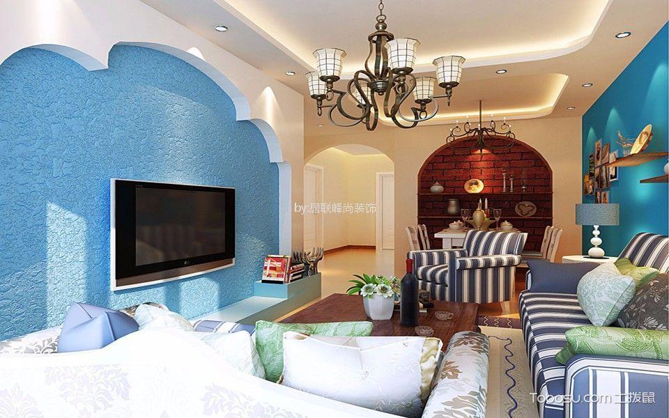 金陵尚府90平米地中海风格三居室装修效果图