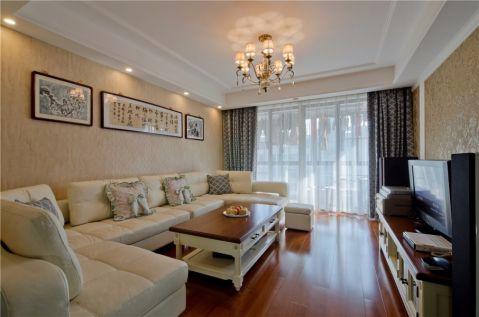 120平米现代美式三室两厅装修效果图