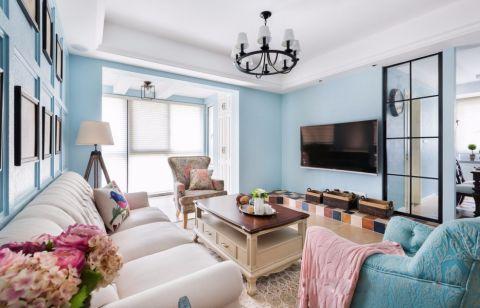 地中海风格90平米三室两厅装修效果图