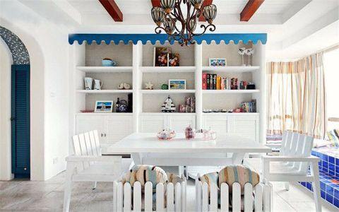 餐厅博古架地中海风格装潢设计图片