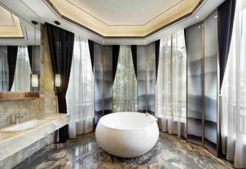 卫生间窗帘新中式风格装修设计图片