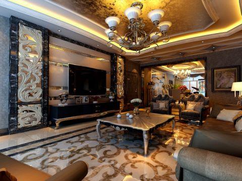 客厅电视柜欧式风格装潢效果图