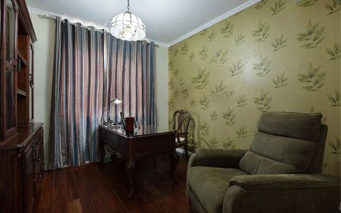 书房窗帘美式风格装饰设计图片