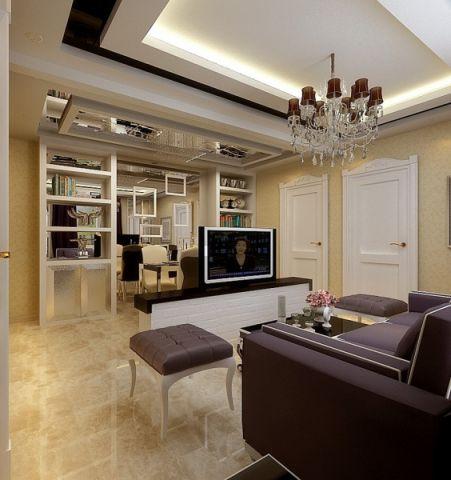 富裕中心80平简欧两室两厅装修效果图