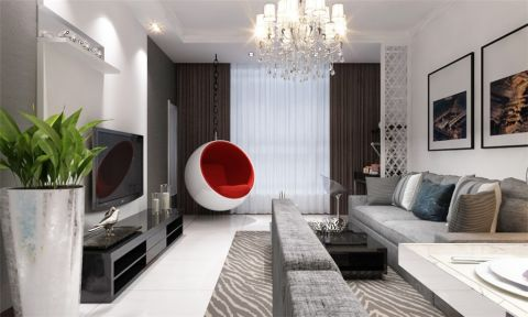 保利玫瑰湾91平现代简约两室两厅装修效果图