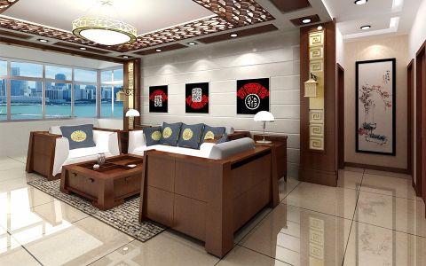悦公馆136平新中式风格二居室装修效果图