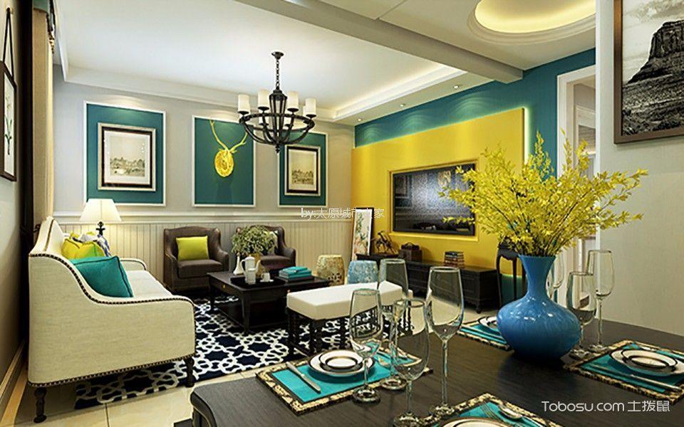 华洲国际美式风格三居室装修效果图