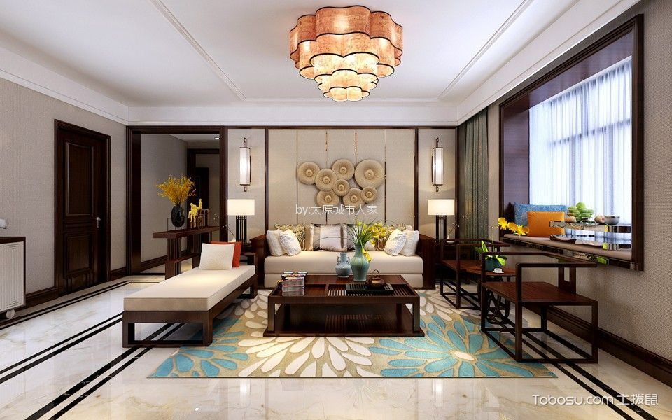 华洲国际180平米新中式风格三居室装修效果图