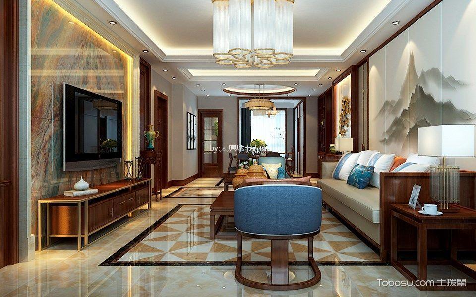怡佳天一城190平米新中式风格三居室装修效果图